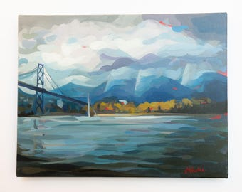 """Original Painting // North Vancouver Clouds no. 1 // 18"""" x 14"""" // Acrylic Paint on Canvas by Joanne Hastie"""
