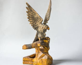 Antique solid wood eagle figurine, hand carved hawk wooden, made for special order brown eagle bird figurine, home decor heavy eagle