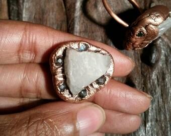 Rose Quartz Copper Ring. Size 11