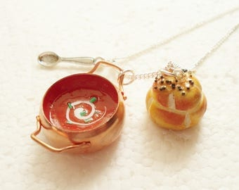Tomato Soup Pendant.  Polymer clay