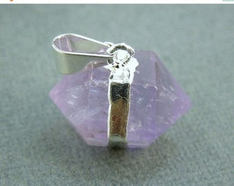 15% off Christmas in July Amethyst Double Terminated Petite Nugget Pendant with Silver Electroplated Edging