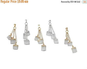 15% off Christmas in July Selenite Pendant - Selenite Nuggets with Electroplated 24k Gold or Silver Caps and Chain Pendant with 3 Hanging st