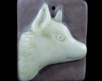 Carved Wolf / Fox Picasso Jasper Pendant