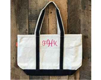 SALE   MONOGRAM MISTAKE   Sold As Is   Medium Canvas Boat Tote