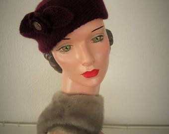 Hand Knit Beret Vintage 1930's Downton Abbey Style Hat Mandarin Beret Ready to ship