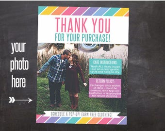 Thank You Card CUSTOM photo for fashion consultant retailer boutique customers care card return policy