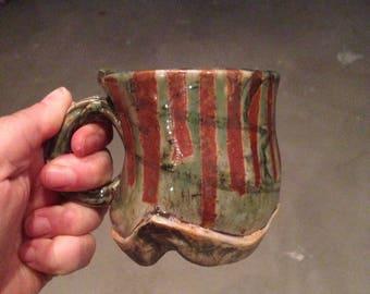 Rustic Green Ceramic Mug - Coffee Mug, Tea Cup, Espresso