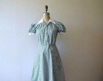 1940s vintage dress . 40s striped workwear dress