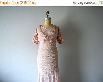 25% SALE 1930s dress . vintage 30s pink crepe gown