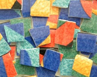 Colorful Porcelain Mosaic Tiles - Designer Plates - 120 Tiles