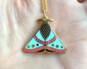 Enamel Moth necklace / Pendant / Gold neckless / Butterfly