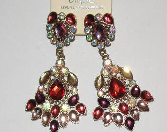 Multicolored Pierced Large Statement Chandelier Rhinestone Earrings.