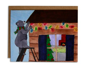 Christmas Lights Bear Greeting Card