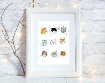 Cat Face A5 Print, Cat Wall Art, Watercolour Art