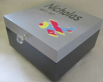 Large Memory Box - Personalized Keepsake Box -  Boys Keepsake Box - Airplane Memory Box - Child's Keepsake Box - Wooden Keepsake Box - Gift