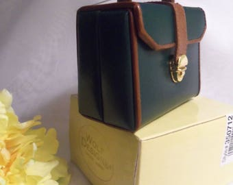Mint Women's NEVER USED Vintage Green & Tan LEATHER Mini Suitcase Jewelry Travel Storage Case Box w/ Gift Box- Birthday Gift Her Mom Mother