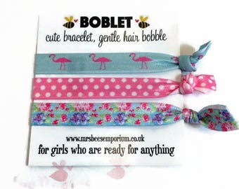 Hair elastic, bracelet bobble, hair band bracelet, boblet, yoga bands, party bag, bracelet, gym gear, girls hair, FOE hair ties, flamingo