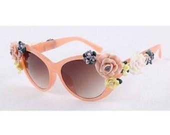 Orange Peach Sorbet Cat Eye Sunglasses with Rose Detailing