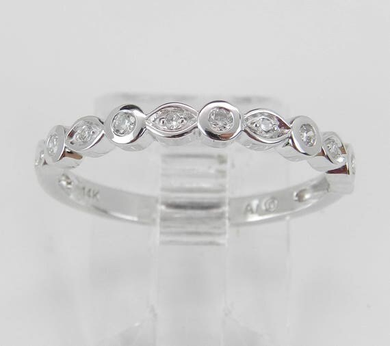 Diamond Wedding Ring Anniversary Band Size 7 14K White Gold Natural Stackable