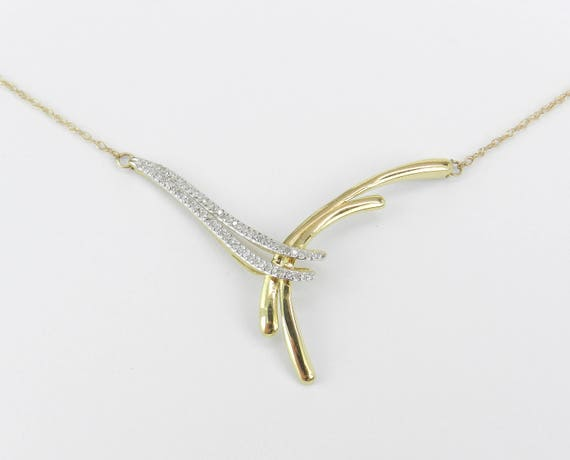 Unique Diamond Necklace Yellow Gold Wedding Gift Pendant Chain 17""