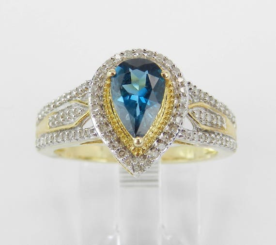 Yellow Gold Diamond and London Blue Topaz Halo Engagement Promise Ring Size 7