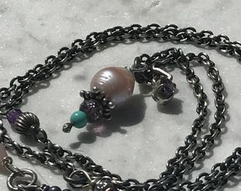 Pearl + Oxidized Cable Chain + Sterling Silver + Amethyst + Artisan Sundance Style