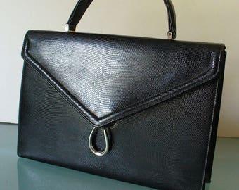 Vintage Morris Moskowitz Lizard Textured Black Handbag