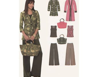 Womens Coat or Jacket with Pants, Top and Purse New Look Sewing Pattern 6920 Size 10 to 22 Bust 32.5 to 44 Full Figure Classic Separates