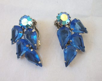 Vintage Weiss Earrings Blue and AB ~ Clip on / non pierced