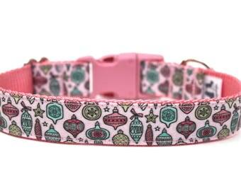 """Vintage Style Christmas Dog Collar 1"""" SIZE SMALL Ready to Ship Christmas Ornament Dog Collar Pink Christmas Dog Collar"""