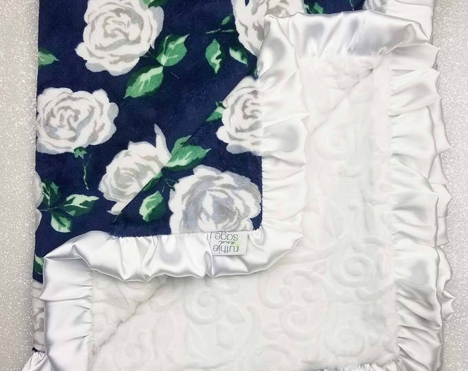 READY TO SHIP Minky blanket, baby girl blanket, baby gift, Floral blanket, Navy and White, Navy and silver, Wildflower, Rose, Shabby Chic
