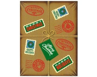 Vintage 80's HALLMARK Stickers Sheet ~ MERRY CHRISTMAS Happy Holidays Package Stamps Special Delivery