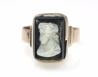Victorian Hardstone Cameo Rose Gold Ring, Size 7 US