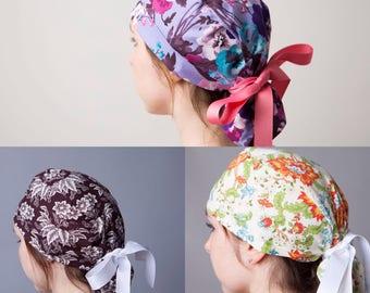 Surgical Hat, Scrub cap, Ponytail Scrub cap, Surgical cap, ponytailed scrub hat, scrub hat~ flowers (long hair)