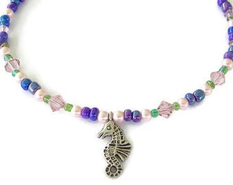 Seahorse Anklet, Beaded Ankle Bracelet with Seahorse Charm, Ocean Life Anklet, Beach Jewelry, Summer Jewelry,  Choice of Colors, Gift