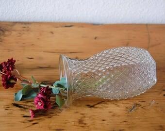 Vintage Hoosier Vase Clear Glass Flower Vase Diamond Pattern Glass Vase from The Eclectic Interior