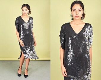 80s Black Silver Sequin Dress Vintage Metallic Cocktail Dress