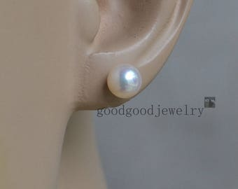 round pearl earring, high qualitys AAA 6.9mm white round freshwater pearl stud earrings,bride earrings, girl friend gift,real pearl earrings