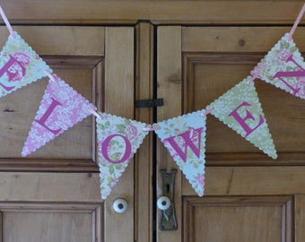 Custom Name Bunting - Personalised Tea Party Banner - Girls Birthday, Christening, Baby Shower, Nursery Decor - Up to 10 Letters