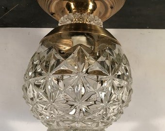 Vintage retro Hollywood Regency entry light fixture brass pressed glass rewired