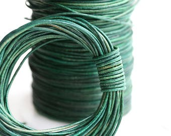 1mm Round Natural Leather cord - Vintage Green - 10 feet, LC124