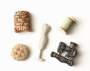 Sewing Themed Magnets, Thread, Spool, Pin Cushion, Dress-form, Measuring Tape, Fridge Magnets, Sewing Machine, Sewing Kit, Seamstress Gift