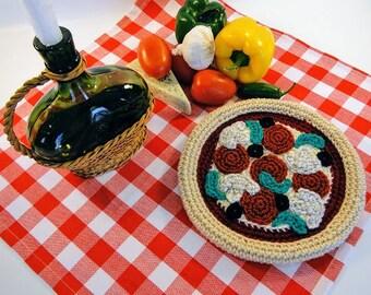 Pizza Potholder Crochet Pattern #307 - Pizza Crochet Pattern - Food Crochet Pattern - Instant Download PDF