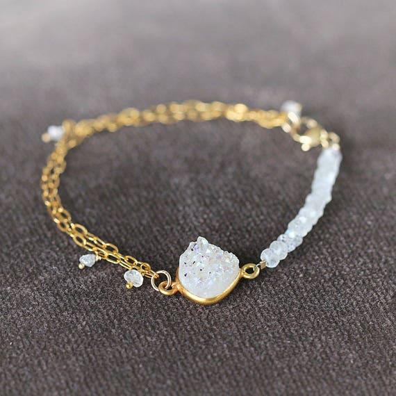 Bridal Bracelet - Druzy, Diamond & Moonstone Bracelet
