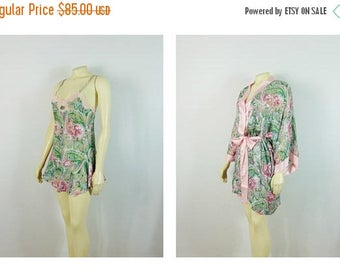 B-DAY SALE Vintage Nightgown & Dressing Gown Robe Set 80s Victoria's Secret Pink Floral Paisley Satin Babydoll and Chiffon Robe Small
