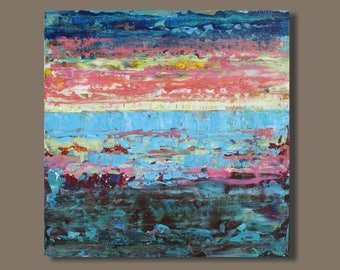 Dusk Light - abstract painting, abstract landscape painting, pink, blue, small art, gift for her, small painting, water ocean sunset