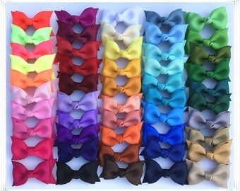 Set of 6, 12 ,24 pcs 2.5 inch Double Layer Bows, teen hair bows, back to school, Boutique bows, Pig Tail Bows,Wholesale ,50 colors to choose