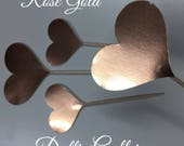 12 Rose Gold Heart Cupcake Toppers Cake Toppers Wedding Cake Decorations Food Picks Appetizers