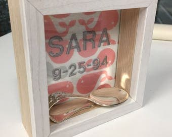 Personalized Baby Gift Embroidered Shadow Box Gift with Silver Spoon