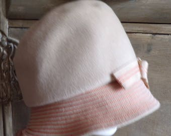 HENRY POLLAK RITZ khaki wool hat with orange stitching 1960s does 1920s